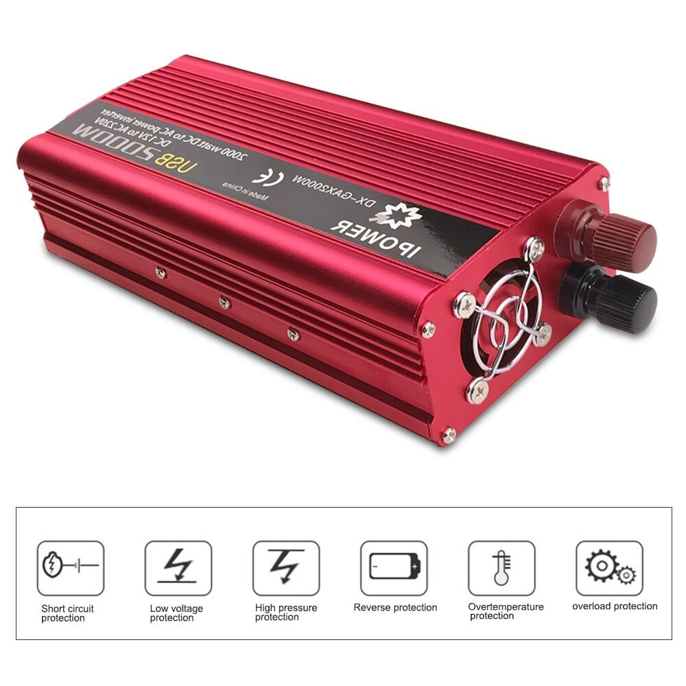 Luyuanipower 850w 2000w Peak Power Inverter Dc To Ac 12v 230v And Battery Low Voltage Protection Short Circuit Protectionin Car