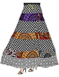 Patch Work Printed Cotton Long Skirt For Women With Elastic Band (Free Size)