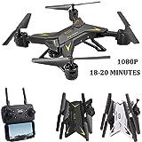 Waroomss Drohne mit Kamera, WiFi 1080P HD Kamera Live Video und GPS Return Home 2,4 GHz 4 CH 4 Achsen Gyro RTF RC Quadcopter-Follow Me, Höhe halten, intelligente Batterie, Lange Steuerdistanz