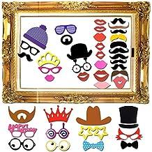 Goodlucky365 60 Piezas DIY Photo Booth Props Cabina de Fotos Accesorios Máscara Gafas Labios Rojos Corbatas Sombreros Photocall Para Fiesta Mascarada Bodas Marco de Fotos Fiesta Favor Graduación Cumpleaños