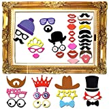Goodlucky365 60 Pezzi Photo Booth Prop DIY Kit Photo Booth Laurea Photo Booth Matrimonio di per Festa di Nozza Riunione Compleanni Attrezzi Cabino Foto Accessori Indossati&Gusti Festa immagine