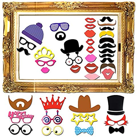 Goodlucky365 60 pcs Photo Booth Props Photo Booth Frame DIY Kit Wedding Birthday Graduation Party Props Dress-up Accessories Party Favors Photo Frame