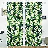 COOSUN Palme Verdunklungsvorhänge Abdunkelung isoliert Polyester Tülle Top Rollo Vorhang für Schlafzimmer, Wohnzimmer, 2Panel (55W X 84L Zoll)