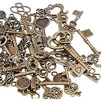 Goldge 80er Bronze Schlüssel Anhänger Vintage Schmuck Skeleton Deko für Halskette