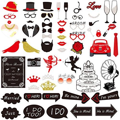 Props, Rymall 60 Tlg Photo Booth Geburtstags Hochzeits Partei Funny Verkleidung [Schnurrbart Lippen Brille Krawatte Hüten] Dekoration Fotorequisiten Set (Photo Booth Props Hochzeit)