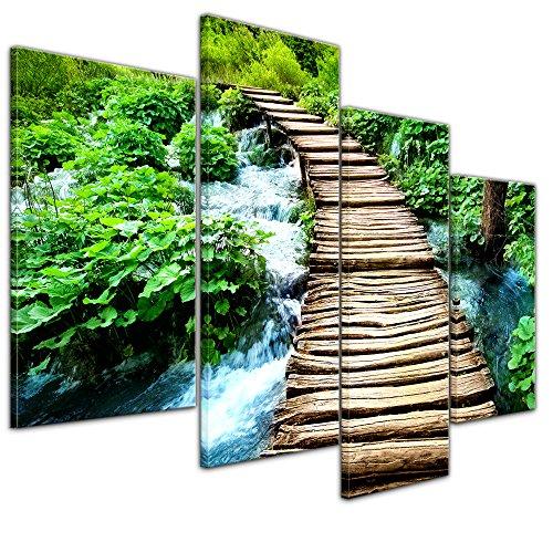 Bilderdepot24 Kunstdruck - Brücke über einen Fluß - Bild auf Leinwand - 120x80 cm vierteilig - Leinwandbilder - Bilder als Leinwanddruck - Wandbild