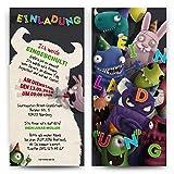 Einladungskarten zur Einschulung (10 Stück) - Monster Party Einladung erster 1. Schultag