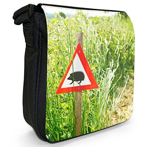 Puntura Riccio piccolo nero Tela Borsa a tracolla, taglia S Hedgehog Crossing Sign