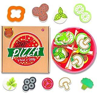 aGreatLife® Marken Pizza Spielzeug Set – Hochwertiges Pizza Rollenspiel Spielzeugessen Set für Kinder ab 3 Jahren und höher