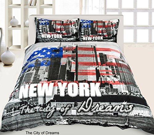 Reedax Luxus 3D Digital Panel Animal Print Hirsch Mops New York Frau rechts Bettbezug Luxus Bettwäsche-Set Super Qualität Bettbezug mit Kissenbezügen, The City of Dreams, Doppelbett (Bettbezug New York City)