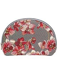 Grande estuche de maquillaje de moda Signare para mujer en tela de tapiz floral