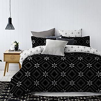decoking 84687 bettw sche 200x220 cm mit zwei kissenbez gen 80x80 schwarz wei geometrisches. Black Bedroom Furniture Sets. Home Design Ideas