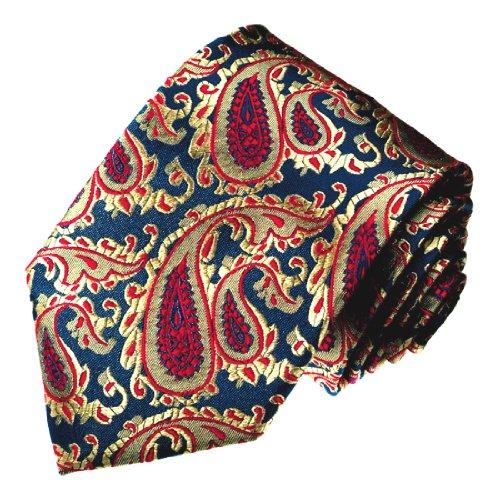 LORENZO CANA - Luxus Designer Krawatte aus 100% Seide - Schlips blau rot Paisley - 12019
