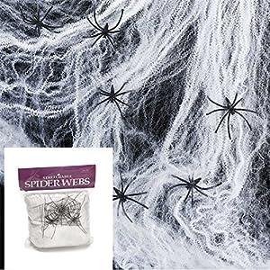 Gifts 4 All Occasions Limited SHATCHI-62 100 unidades de telaraña con 4 arañas de color blanco elástico para decoración de Halloween, color negro