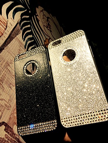Custodia iPhone 7 Glitter, iPhone 7 Cover Silicone, SainCat Cover per iPhone 7 Custodia Silicone Morbido, Custodia Bling Glitter Strass Diamante Rhinestones 3D Design Ultra Slim Silicone Case Ultra So Nero