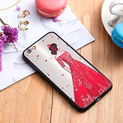 Coque pour iPhone 6,iPhone 6S étui, ETSUE Solidité Housse en PC Case pour iPhone 6/6S, Ultra-mince Noir Fond avec Belle Joli Fille Beauté Coloré Motif de Relief, Girl Femme Coque en Rêve, Housse en Ro Joli Fille 2#
