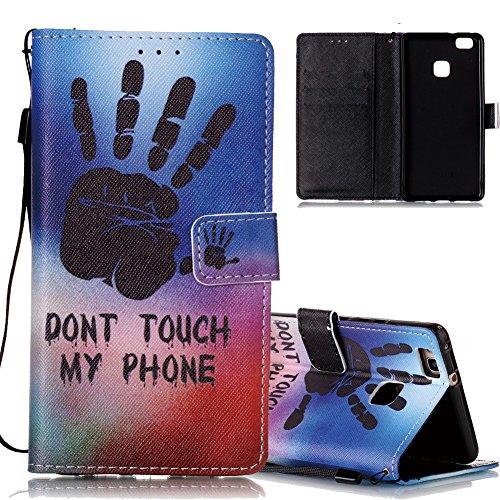 Huawei P9 Lite Ledertasche,Flip Schutzhülle für Huawei P9 Lite, Aeeque® [Hand Sprichwort Muster] Kartenfach Standfunktion mit Schwarz Abnehmbar Handy Lanyard und Weich Silikon Innere Handytasche