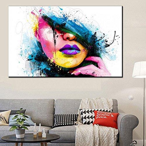 Fenghong Leinwand Wandkunst, Schönheit Gesicht Ölgemälde Tuschmalerei Moderne Abstrakte Leinwand Wandkunst Frau Gesicht Kein Rahmen Drucke Bild - Abstrakte Frau Gesicht