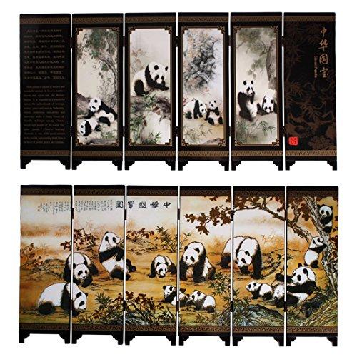 Larcele Piccolo schermo pieghevole in legno Art Byobu FGPF-01 (Panda)