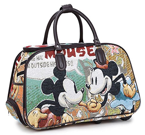 Unisex grande borsone da viaggio con ruote maniglia telescopica weekend overnight Luggage case MickyMouse large