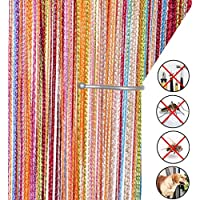 AIZESI Retro PlainTassel Door Curtain Fly Insect Bug Screen String For Doorways Divider or Window Curtain Panel 90x200cm, Fly Screen Panel
