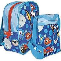 Set de mochila y bandolera Disney Dory - Mochila para la escuela y el ocio para niño o niña - Bolsa plana cruzada de viaje con cremallera - 2 en 1 - Azul - Perletti