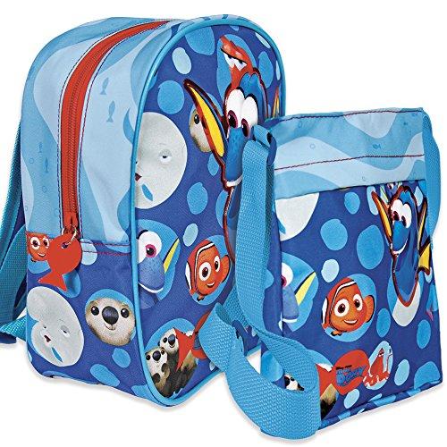 Set di zainetto e tracollina disney alla ricerca di dory - zaino scuola e tempo libero per bambino/bambina - borsa tracolla piatta da viaggio con cerniera finding dory - 2 in 1 - azzurro - perletti