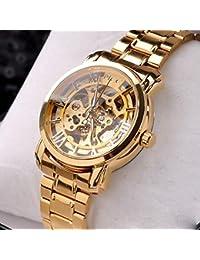 ufengke® bling del antiguo números romanos reloj de pulsera muñeca de oro para los hombres,reloj movimiento mecánico automático hueco de la manera