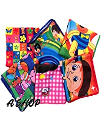 A'SHOP Super Luxury Super Soft Towel Colorful Printed Handkerchief with different Cartoons for Kids, Girls, Women(Pack of 6)