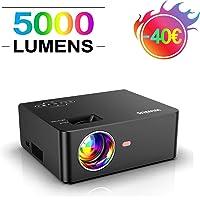 Vidéoprojecteur, WiMiUS 5000 Lumens Portable Mini Vidéo Projecteur, Full HD 1920x1080P Soutien, Réglage Trapézoïdal ±15°, HiFi Stereo Sound, avec USB VGA HDMI AV pour Home Cinéma Fire TV Stick
