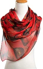 Ziory Red 1 Pc fashion leaves printing long georgette silk scarf for Girls and Women