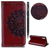 Sony Xperia XZ Handyhülle, Sony Xperia XZ Hülle,WIWJ Flip Leder Handyhülle Wallet Case Tasche [Glitter Mandala Gemalt Blumen Leder Handy Case] Schutzhüllen für Sony Xperia XZ-Braun
