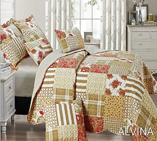 THL Tagesdecke, Patchwork 2Kissen Sham/Vintage Quilt, Set-Größe 255x 275cm Super King Alvina -