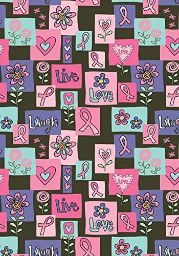 Toland Home Garden Live Love Laugh Forever Deko-Schleife für Brustkrebs, 71,1 x 101,6 cm, Rosa
