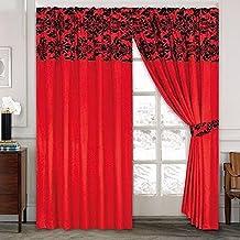 Fusion 1 par de cortinas de lujo, diseño adamascado con pliegues , Rojo, 229 l x 229 h centimeters