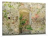 1art1 114802 Mauern - Romantische Garten-Mauer Poster Leinwandbild auf Keilrahmen 180 x 120 cm