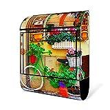 BANJADO Design Briefkasten schwarz | 38x47x13cm groß mit Zeitungsfach | Stahl pulverbeschichtet | Wandbriefkasten mit Motiv Grünes Fahrrad, Briefkasten:ohne Standfuß
