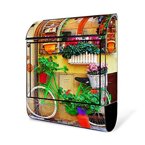 BANJADO Design Briefkasten schwarz | 38x47x13cm groß mit Zeitungsfach | Stahl pulverbeschichtet | Wandbriefkasten mit Motiv Grünes Fahrrad | :ohne Standfuß