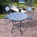Mosaik Bistroset - 2X Gartenstuhl + 1x Gartentisch - Metall Bistro Stuhl Tisch Gartenmöbel Set