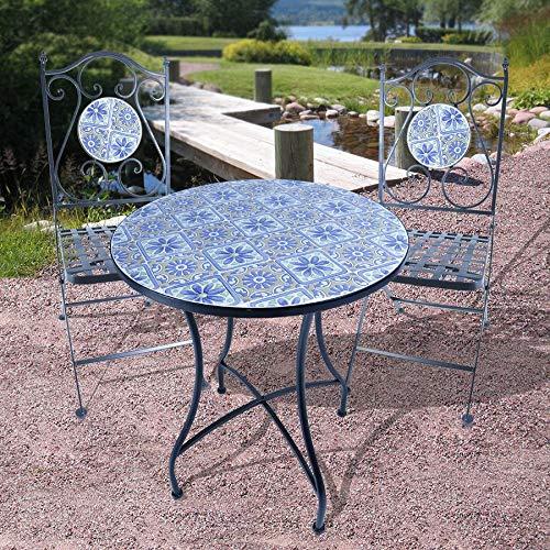 Mosaik Bistro Stuhl (Mosaik Bistroset - 2X Gartenstuhl + 1x Gartentisch - Metall Bistro Stuhl Tisch Gartenmöbel Set)