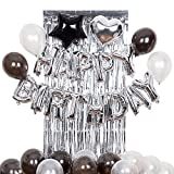 Decoraciones de cumpleaños Fuentes para fiestas Kit plata y negr