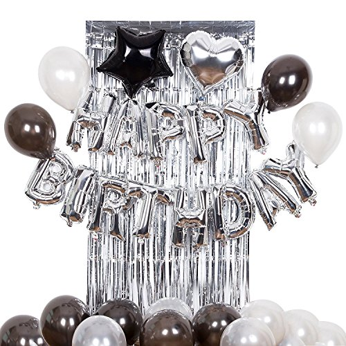 Geburtstag Dekorationen Partyzubehör Kit Schwarz und Silber Brilliant Happy Birthday Banner Folienballons Latex Balloons, Metallic Tinsel Folie Fringe Vorhänge