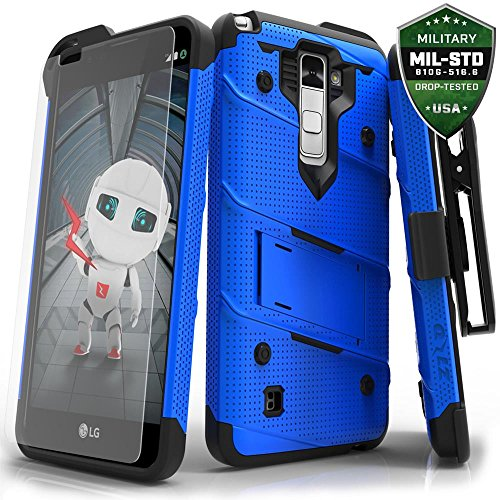 LG Stylo 2 Plus Case, Zizo [Bolt Series] w/ FREE [Stylo 2 Plus Screen Protector] Kickstand [12 ft. Military Grade Drop Tested] Holster Clip - LG MS550 Lg Clips