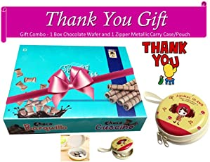 Thank You Gift Combo Pack with 1 Bily Chocolate Wafer and 1pc Zipper Metallic Pouch/Case
