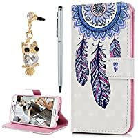For Samsung Galaxy S6 Case, YOKIRIN 3D PU Leather Magnetic Adsorption Folio Inner Soft TPU with Card Slots Kickstand Flip Wallet Case (with Dust Plug & Stylus Pen), Feather