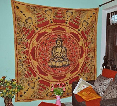 Buddha Meditation und Lotus Baumwolle Braun Wand Hängende Indische Tapisserie Strand Hippie Böhmische Wandteppiche Wand Kunst Baumwolle 90x84 - Werfen Decke Muster Rot