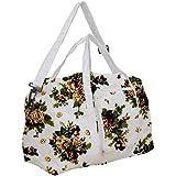 JEH Bags Cotton Folding Travelling Bag - Green Flower Printed Shoe/Slipper bag Eco Friendly reusable Handbag Capacity-25 LTR.
