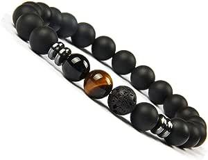 UEUC chakra yoga Balance bracciale in pietra naturale diffusore onice braccialetto per uomo e donna