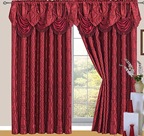 Raven Jacquard Rod Pocket Panel with Attached Valance and Backing, Burgundy, 55x84+18 -