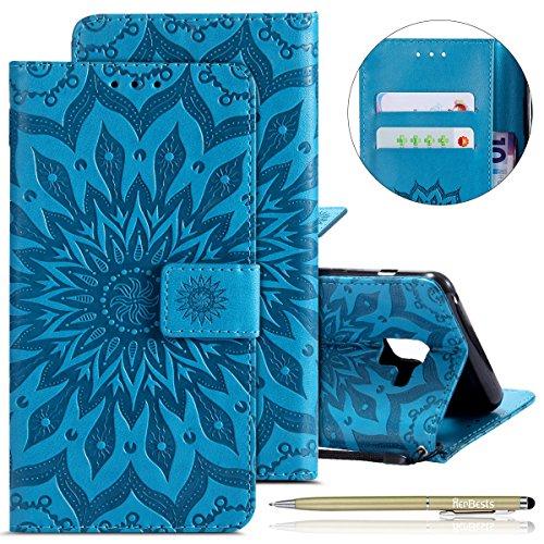 Herbests Hülle Samsung Galaxy S9 Plus Handyhülle Lederhülle Leder Flip Case Handy Schutzhülle Ledertasche Blumen Muster Klapphülle Wallet Cover Handytasche Kartenfach und Ständer,Blau